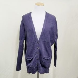 Eileen Fisher cardigan muted blue drop sleeve Med